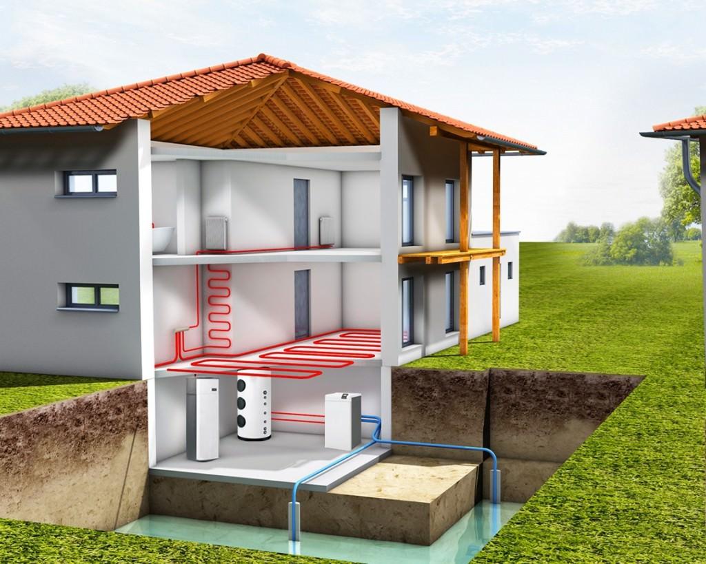 Схема работы теплового насоса вода-вода