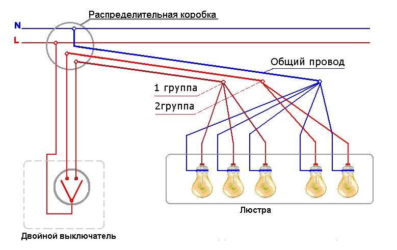 подключение люстры на двойной выключатель