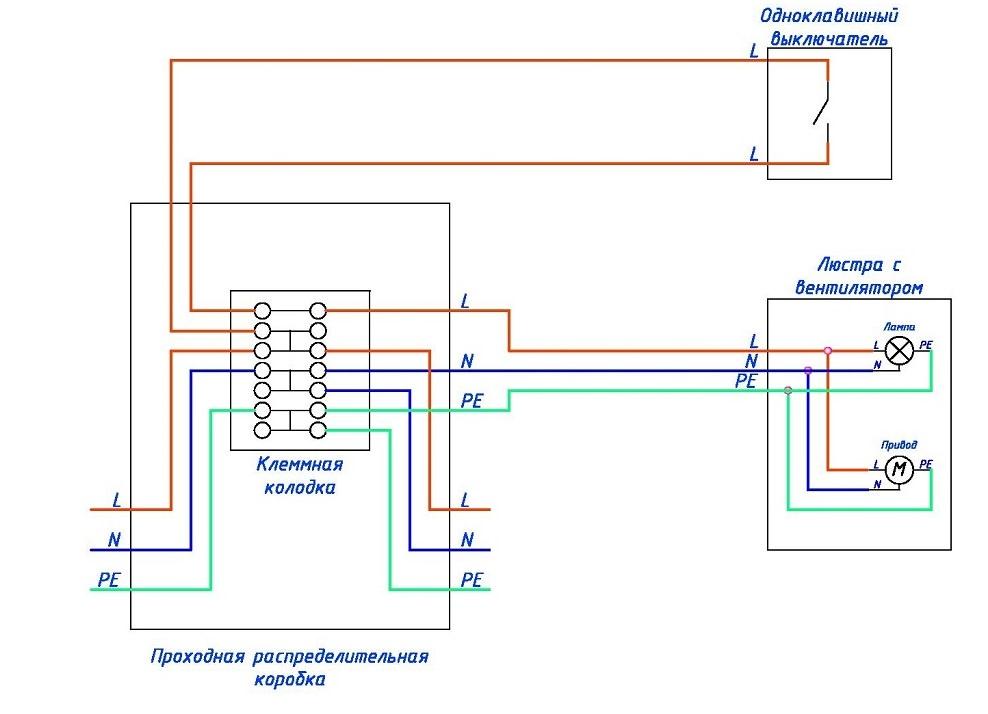 схема подключения люстры с вентилятором