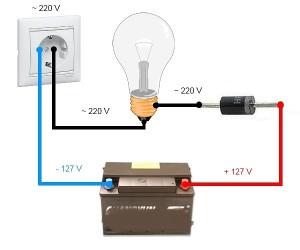 схема акб из лампочки и диода