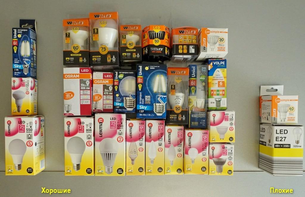 Светодиодные лампы от разных изготовителей