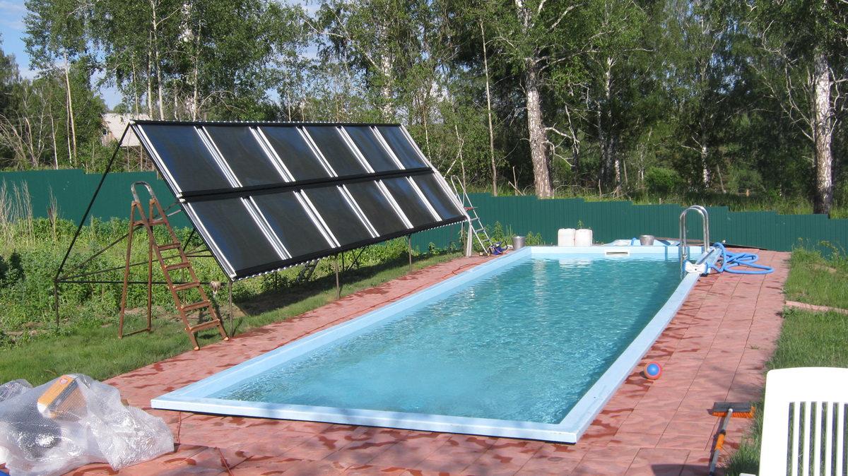 Подогрев бассейна солнечными коллекторами: солнечные батареи для нагрева воды своими руками из черного шланга, применение для обогрева теплиц и отопления дома