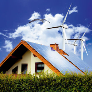 Ветрогенераторы около дома
