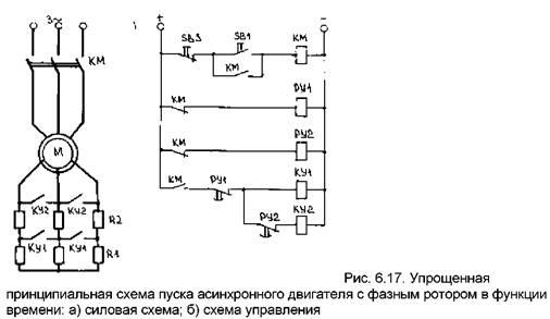 схема пуска асинхронного двигателя