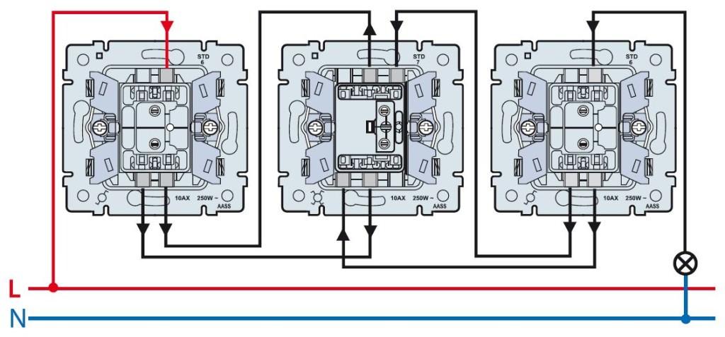схема подключения одноклавишных выключателей из трех точек